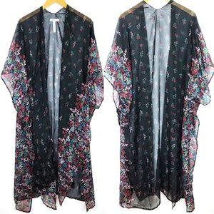 BCBGeneration Black Chiffon Floral Long Kimono